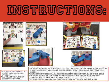 RACE CAR ARTICULATION, GAME COMPANION OR ACTIVITY/SMASH MATS (SPEECH THERAPY)