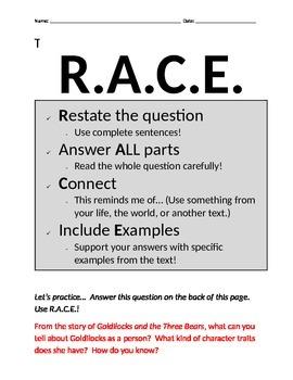 RACE Comprehension Prompt Practice / Homework