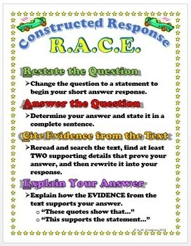RACE Constructed Response Strategy Poster and Bookmark Bundle