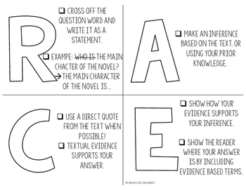 RACE Constructed Response Task Cards and Worksheets