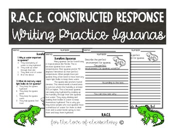 RACE Constructed Response Writing Practice Iguanas