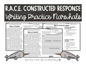 RACE Constructed Response Writing Practice Narwhals