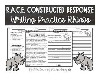 RACE Constructed Response Writing Practice Rhinos