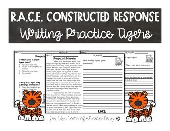 RACE Constructed Response Writing Practice Tigers