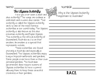 RACE Constructed Response Writing Practice Ulysses Butterflies