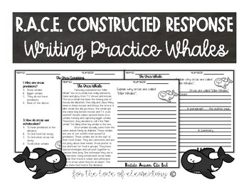 RACE Constructed Response Writing Practice Whales