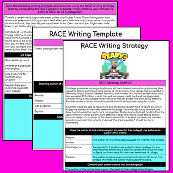 RACE Constructed Writing Practice - Common Core Aligned