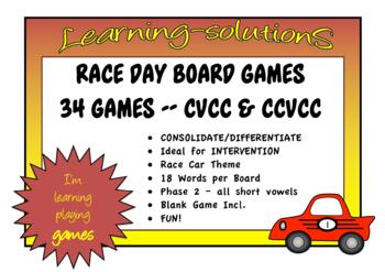 RACE DAY PHONICS GAMES Phase 2 CCVC/CVVC/CVCC/CCVVC Dyslexia Friendly Font