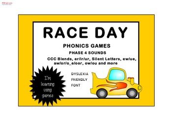 RACE DAY PHONICS GAMES Phase 4 (CCC, silent letters, complex vowels)