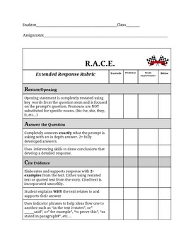 R.A.C.E. Extended Response Rubric