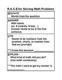 RACE Math Poster for Common Core Word Problems