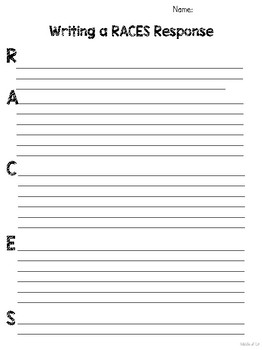 RACE & RACES Writing Response Poster Bundle