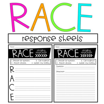 RACE Posters and Constructed Response Sheets