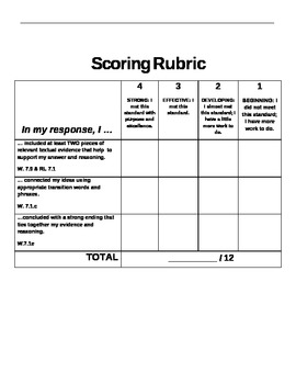 RACE Reading Response Handout with Rubric! Common Core Aligned!
