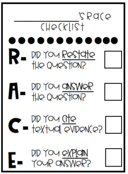 RACE Reading Strategy Checklist