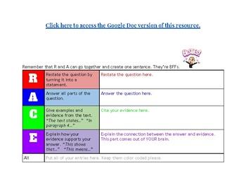 RACE Short Answer Response Graphic Organizer for Google Docs