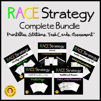 RACE Strategy - Complete Bundle - Stations, Task Cards, Practice Pages
