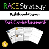 RACE Strategy - RESTATE and ANSWER the Question - Task Cards and Assessment