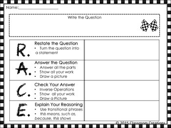 R A C E Strategy For Math By Classroom Creations Tpt