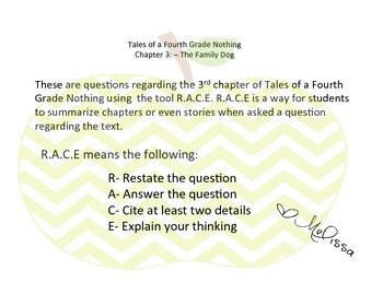 RACE Tool using- Tales of a Fourth Grade Nothing