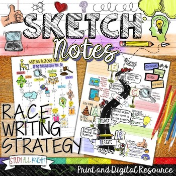 RACE WRITING STRATEGY, BLOOM'S TAXONOMY QUESTIONS, SKETCHNOTES, FOR TEST PREP