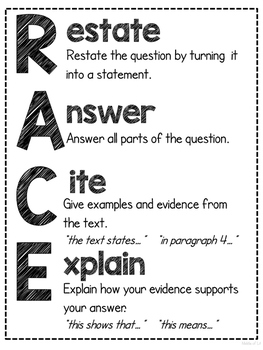 RACE Writing Strategy Response Poster