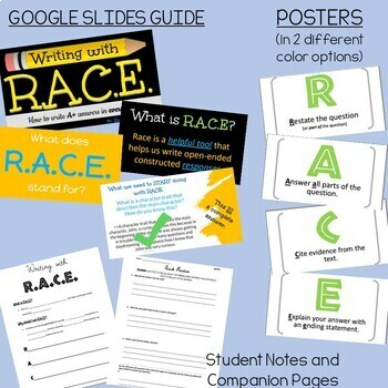 RACE Writing Response Strategy - PowerPoint and Guided Notes Practice Page