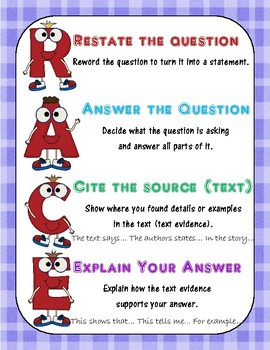 RACE Writing Strategy: Anchor Chart & Planning Page