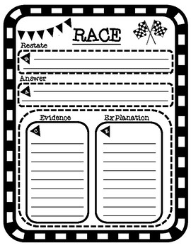RACE Writing Strategy Constructed Response Graphic Organizer