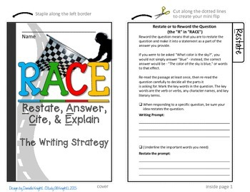 R.A.C.E WRITING STRATEGY: INTERACTIVE NOTEBOOK MINI FLIP