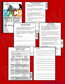 R.A.C.E WRITING STRATEGY ELA TEST PREP MINI FLIP