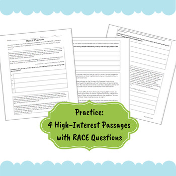 RACE Writing Strategy: Lesson and Practice