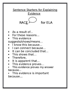 Race Sentence Starters Worksheets & Teaching Resources | TpT