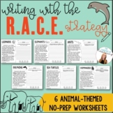 RACE Strategy Writing   6 Animal-Themed Worksheets   Text Evidence & Test Prep