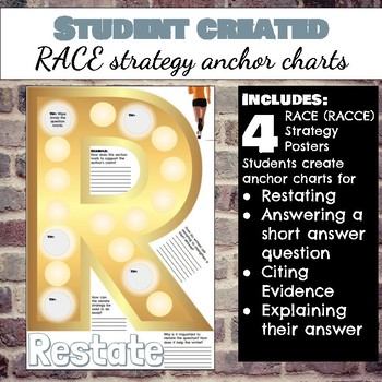 RACE or RACCE Short Answer Strategy Anchor Charts for Grades 3-8 ELA