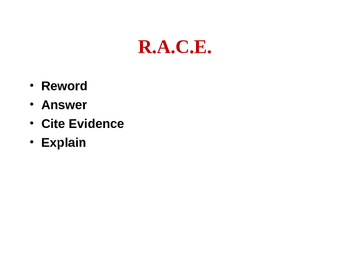 RACE writing ~ How to  Construct a Response to Short Answer Questions