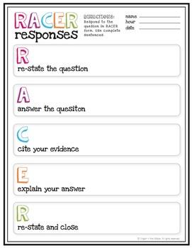 RACER Response Worksheet