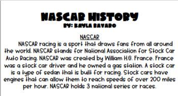 RACER Writing Activities (RACE CAR THEME)