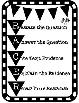 RACER Writing Strategy Constructed Response Student Reminder Handout