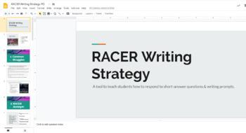 RACER Writing Strategy Professional Development