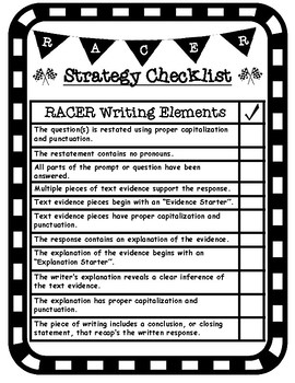 RACER Writing Strategy Student Friendly Checklist