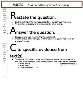 RACES - A Guide for Constructed Responses with Text Evidence