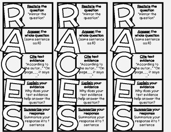 RACES Bookmark FREEBIE! - Constructed Response Bookmarks