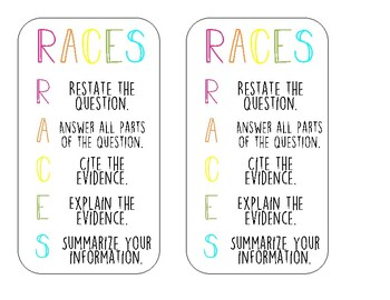 RACES Bookmarks or Interactive Notebook