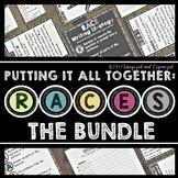 RACES WRITING STRATEGY BUNDLE- BULLETIN BOARD, SENTENCE STARTERS, PRACTICE