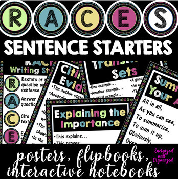 RACES WRITING SENTENCE STARTERS-POSTERS,FLIPBOOK,INTERACTIVE NOTEBOOKS