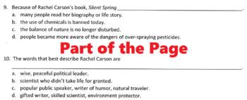 Biography RACHEL CARSON, ENVIRONMENTAL SCIENTIST w/ 20 Reading Comprehension Qs