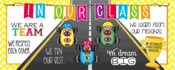 RACING KIDz theme - Classroom Decor: LARGE BANNER, In Our Class - horizontal