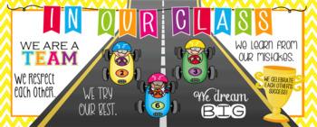 RACING KIDz theme - Classroom Decor: LARGE BANNER, In Our Class - horizontal