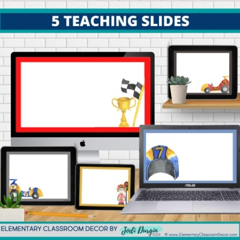 RACING THEME Classroom Decor - 2 EDITABLE Clutter-Free Classroom Decor BUNDLE